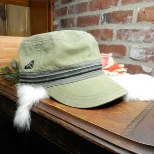 Roxy 5 panel Pocket womens army green zipper hat